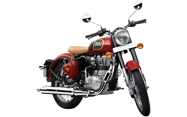 Royal Enfield Classic 350 Single Channel Front Side View (Chestnut Red)
