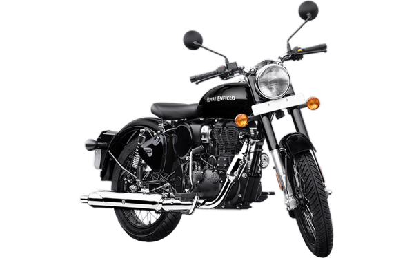 Royal Enfield Classic 350 Single Channel Front Side View (Pure Black)