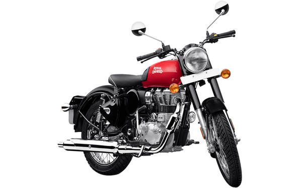 Royal Enfield Classic 350 Single Channel Front Side View (Redditch Red)