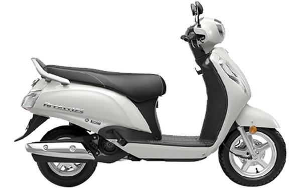 Suzuki Access 125 Side View (Pearl Mirage White)
