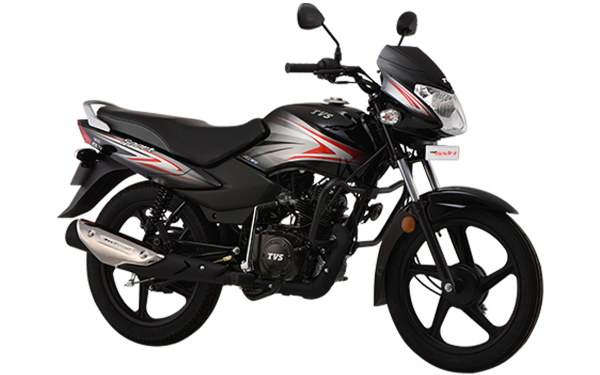 TVS Sport Front Side View (Black Red)