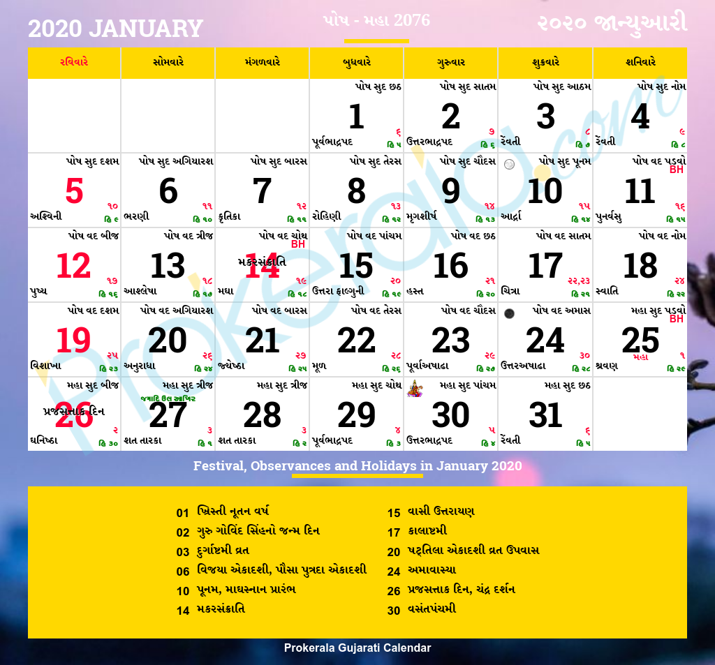 Gujarati Calendar January 2020