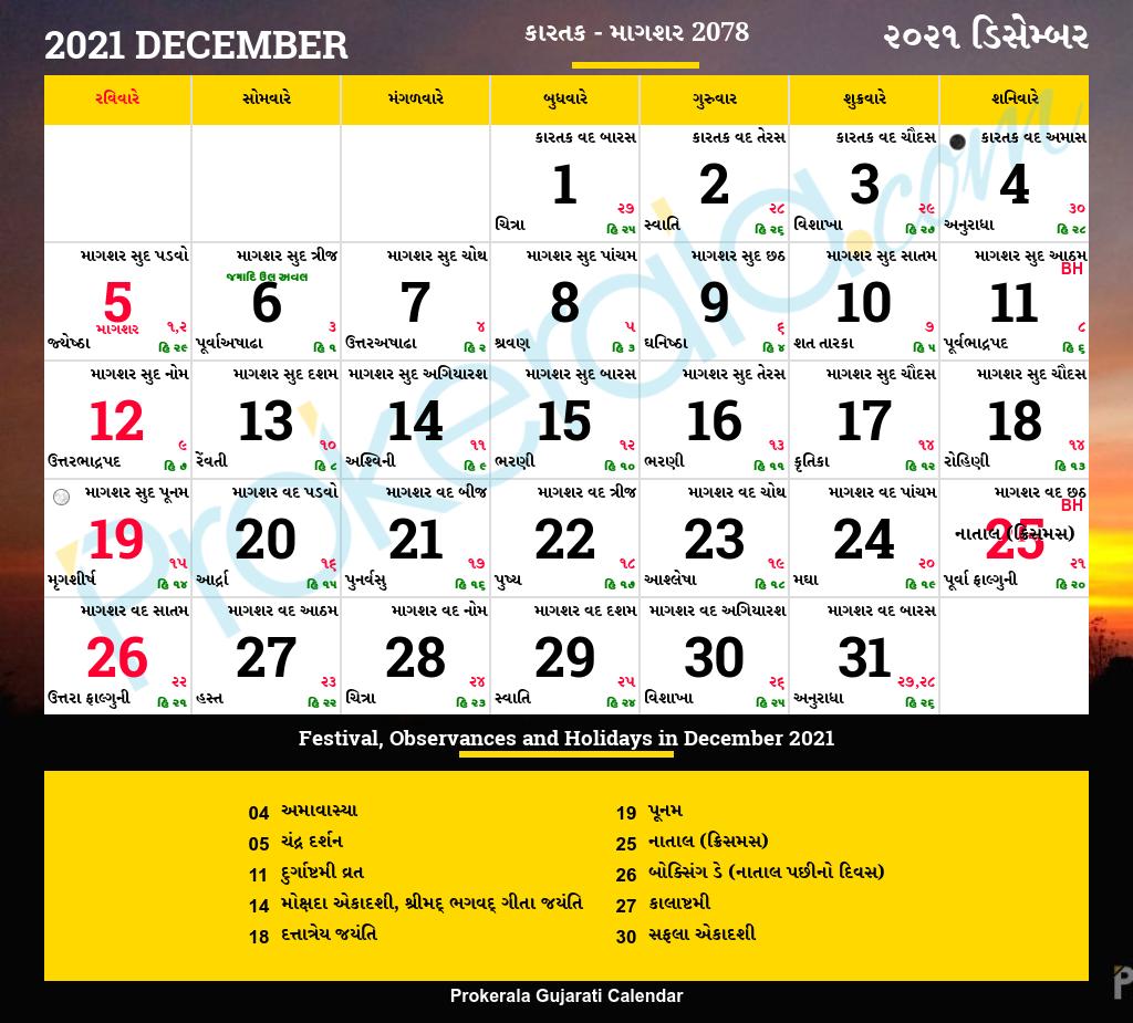Gujarati Calendar December 2021