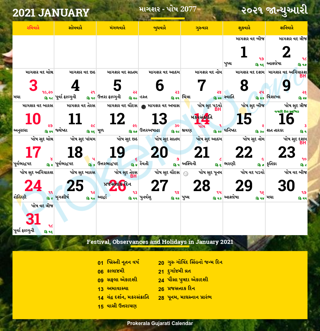 Gujarati Calendar January 2021