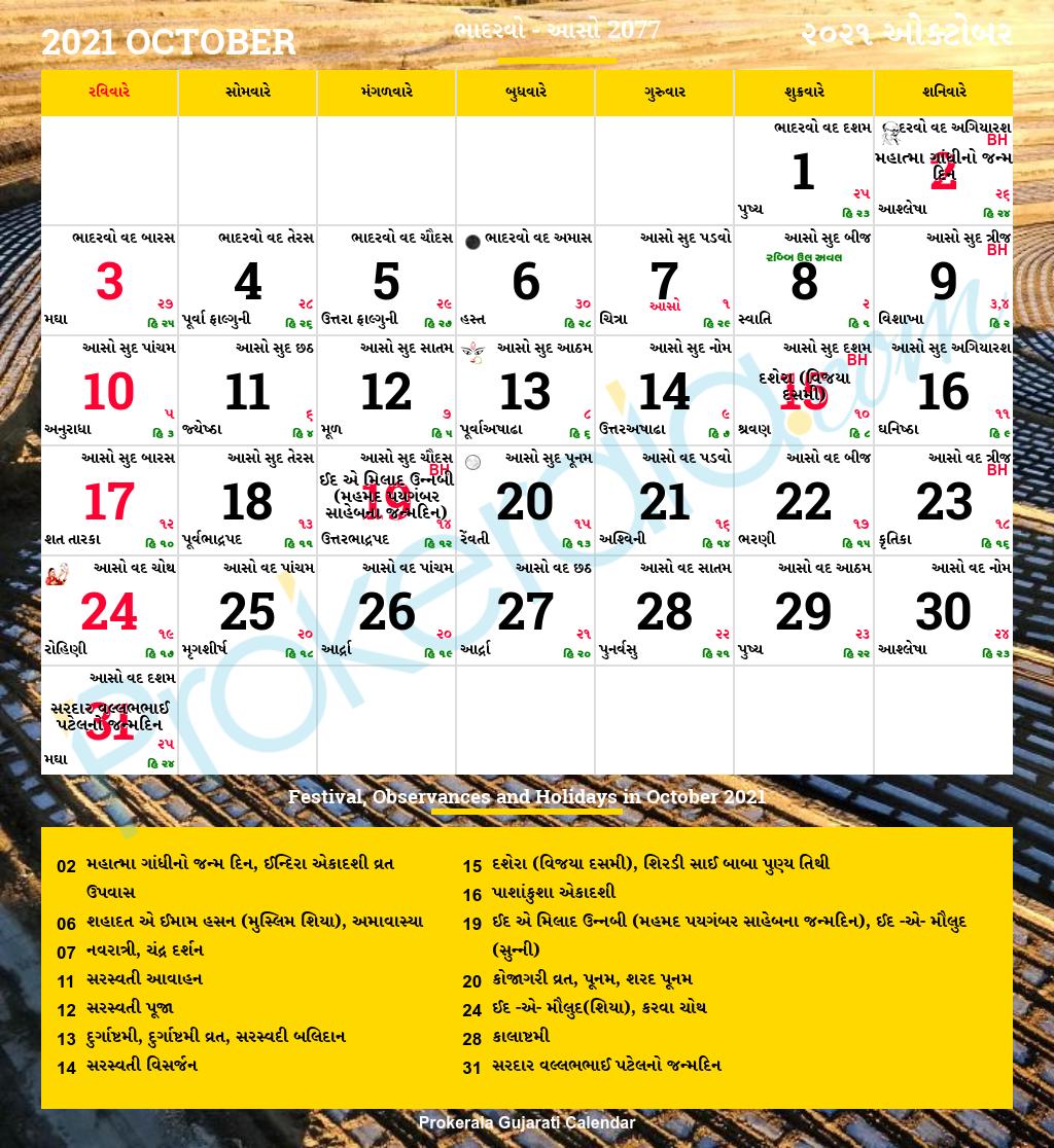 Gujarati Calendar October 2021