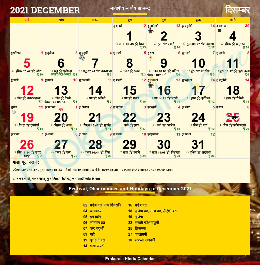 Hindu Calendar December 2021