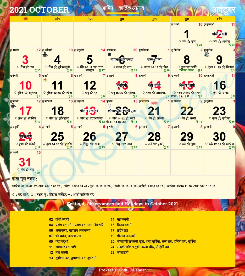 Hindu Calendar October 2021