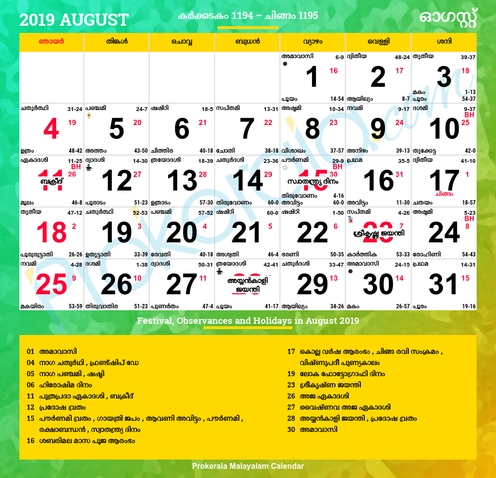 Malayalam Calendar August 2019