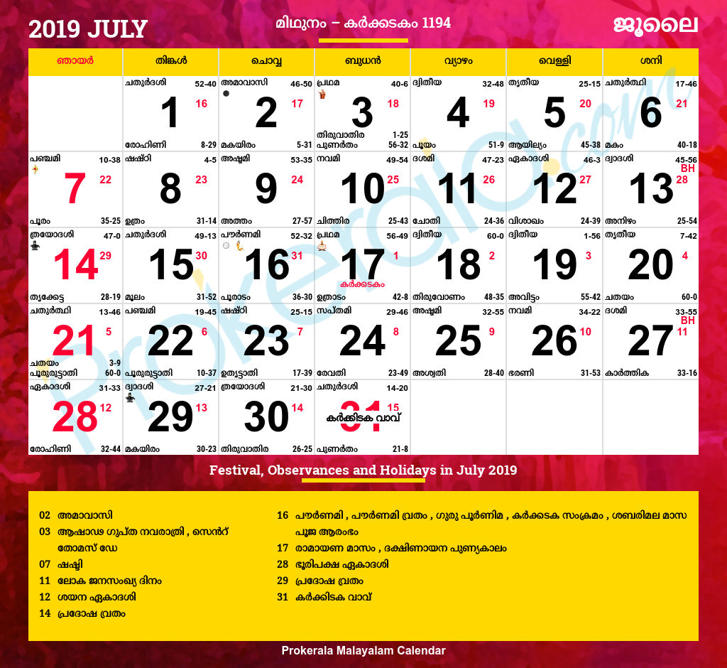 Malayalam Calendar July 2019