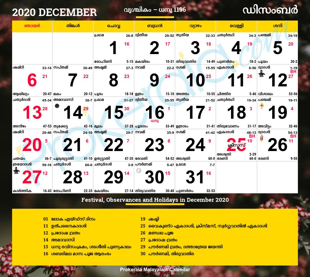 Malayalam Calendar December 2020