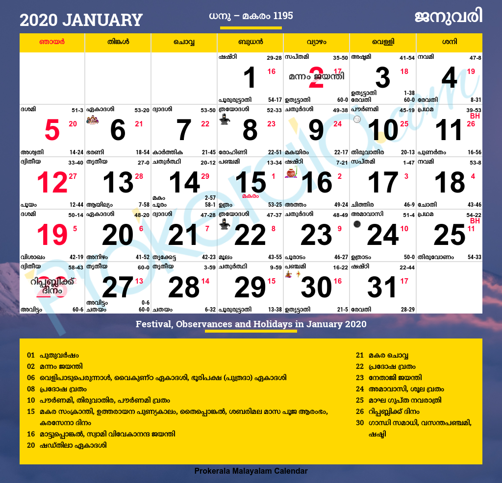 Malayalam Calendar January 2020