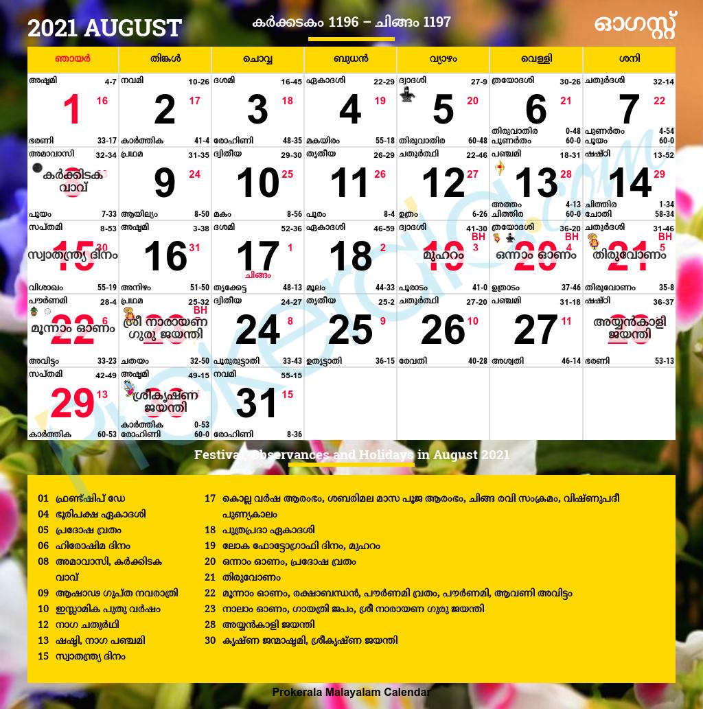 Malayalam Calendar August 2021