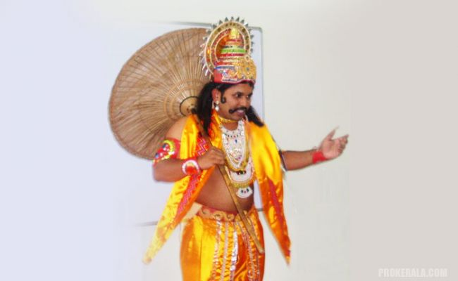 A person dressed up as Mahabali