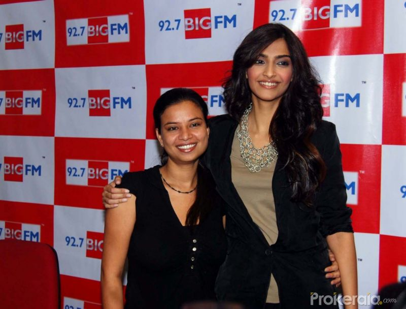 Rj-Rani and Sonam Kapoor at the Visit of Big Fm 92.7 Studio for the