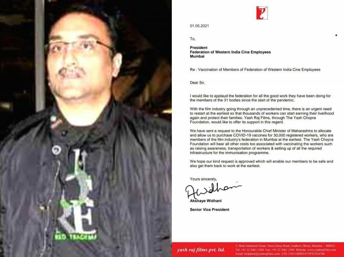 Aditya Chopra offers to vaccinate 30,000 Hindi film industry workers