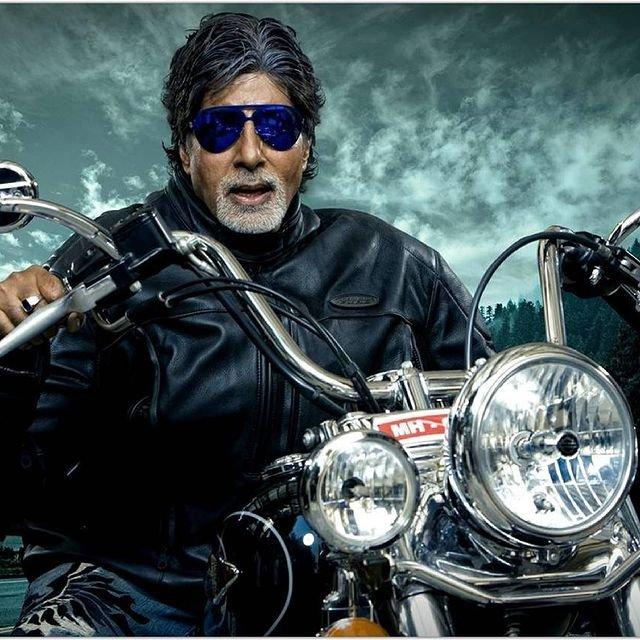 Amitabh Bachchan rides a Harley