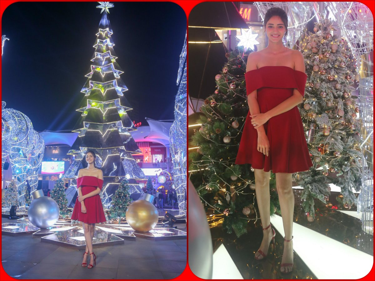 Ananya Panday in red Christmas dress