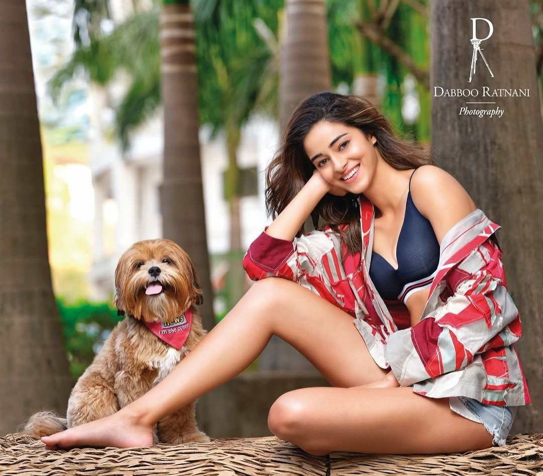 Ananya Panday poses with a dog for Dabboo Ratnani Calendar 2021