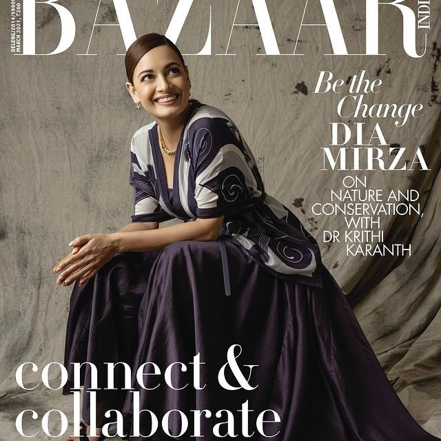 Dia Mirza graces the anniversary sepcial cover spread of Harper's Bazaar