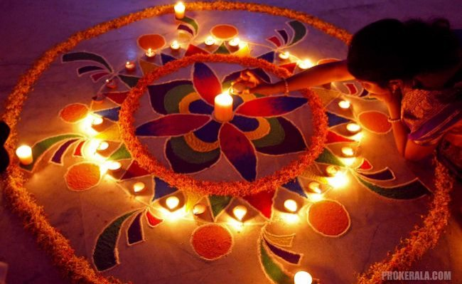 Flower-like rangoli design is believed to unite the soul with a divine force