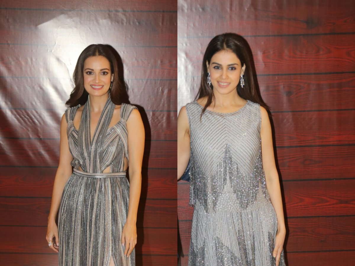 Photos: Unmissable Metallic Fashion Looks from Genelia D'Souza & Dia Mirza at Javed Akhtar's party