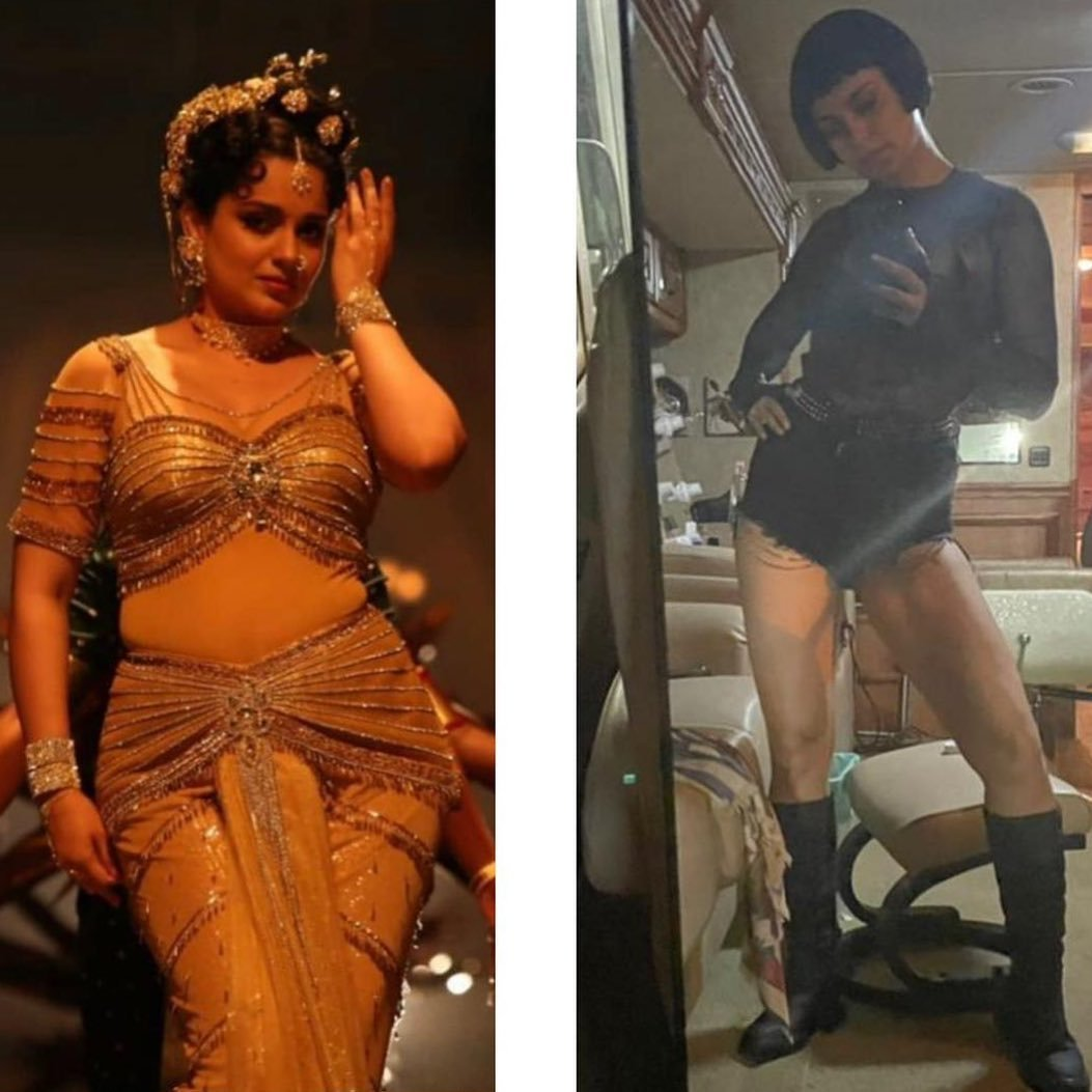 Kangana Ranaut gives a glimpse of the two different avatars from Thalaivi and Dhaakad