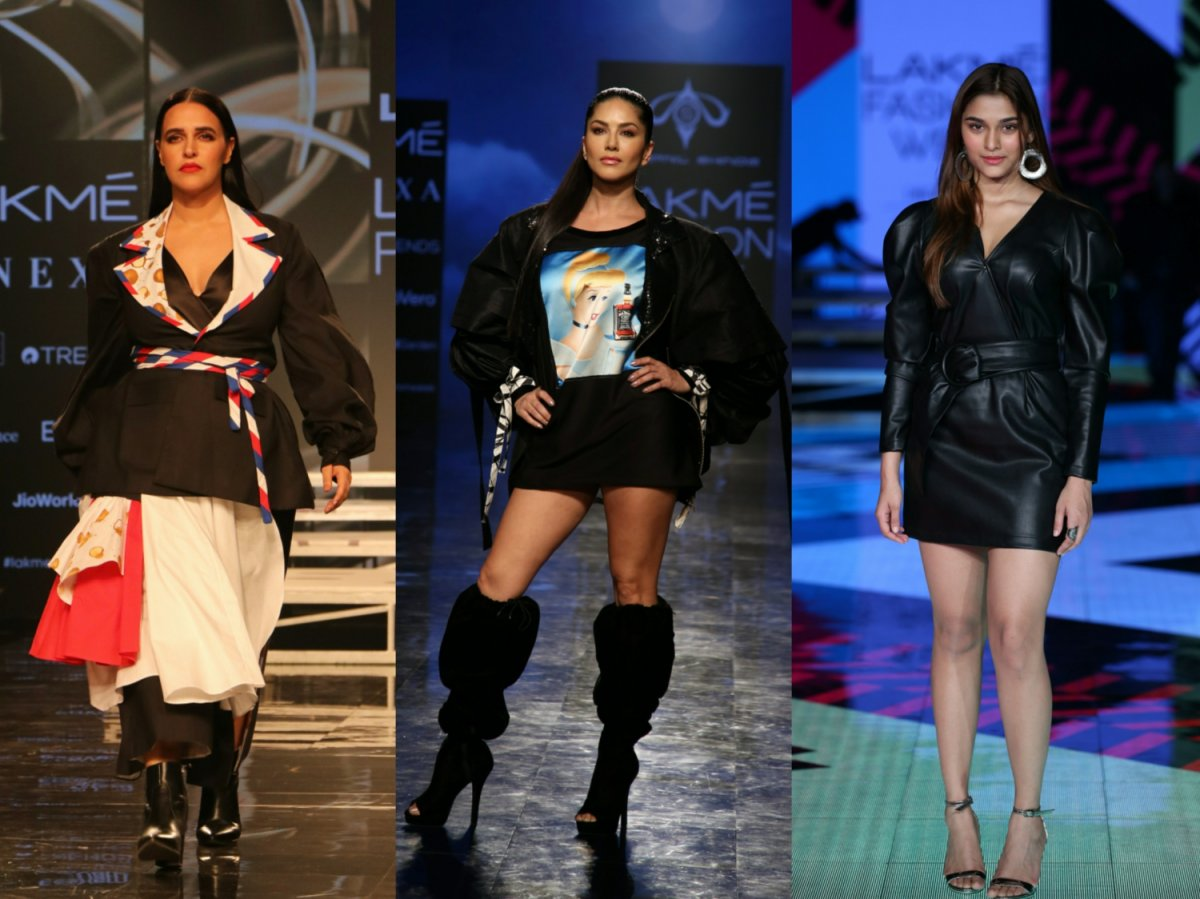 Sunny Leone, Neha Dhupia and Saiee Manjrekar at Lakme Fashion Week