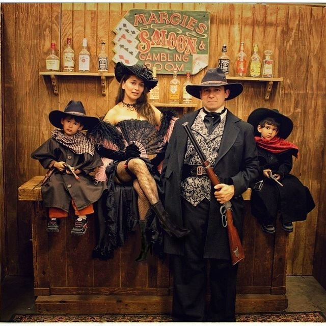 Madhuri poses with husband and sons in a Western-themed throwback pic