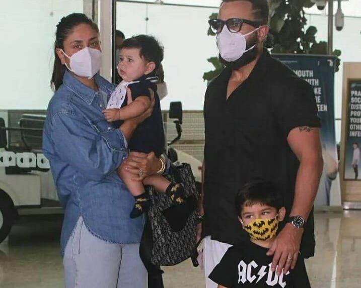 Saif Ali Khan and Kareena Kapoor spotted at Mumbai airport with Jeh and Taimur