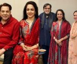 Hema Malini celebrates birthday with family and close friends, twins in red with Dharmendra