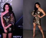 Mouni Roy or Kriti Kharbanda nailed the metallic one – shoulder party dress better? Check it out!