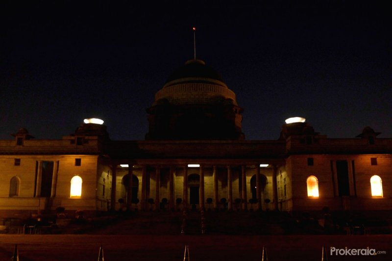 Lights were deemed at Rashtrapati Bhavan during Earth Hour observed in New Delhi on March 19, 2016.