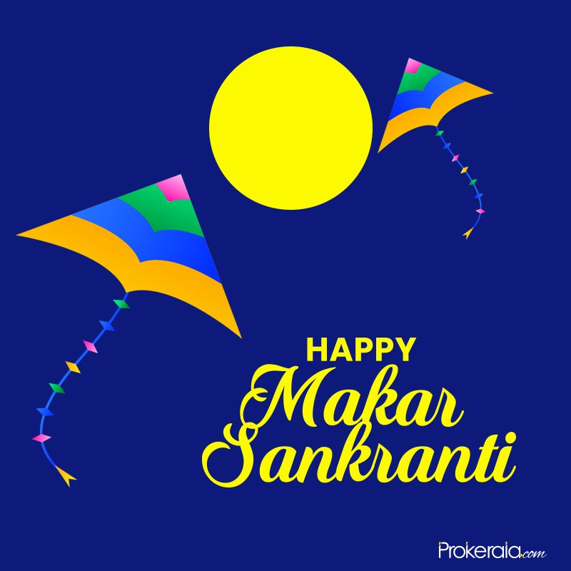 Sankranti greetings on blue backgroun and kite images
