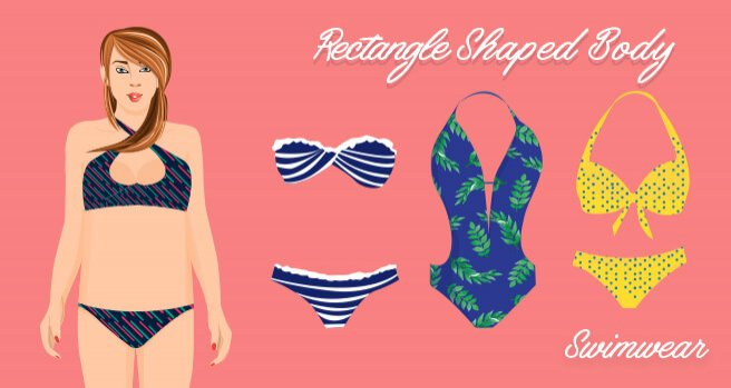 swimwear for rectangle shaped body