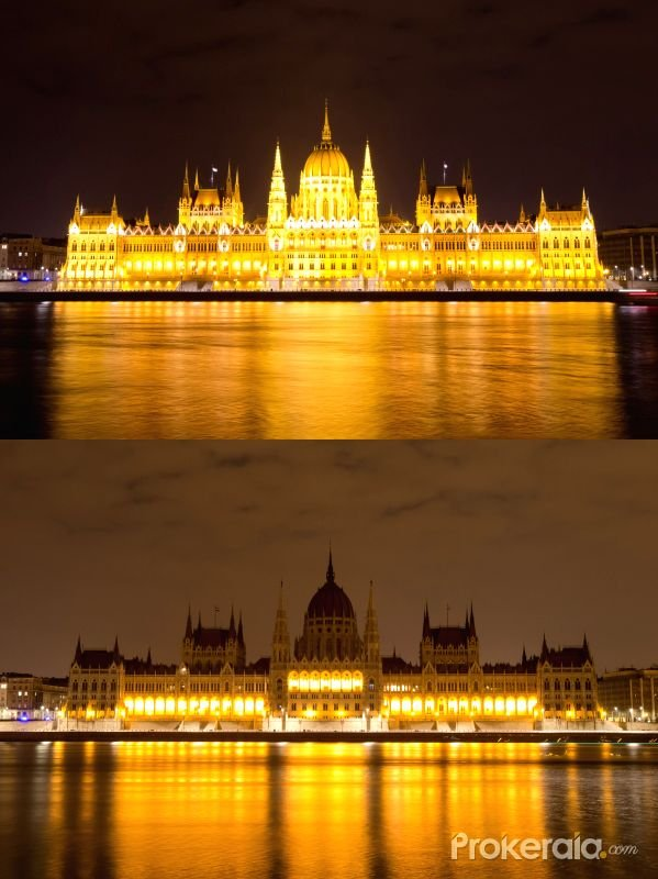 The combo photo taken on March 28, 2015 shows the Hungarian parliament building before (above) and after the Earth Hour in Budapest, Hungary.