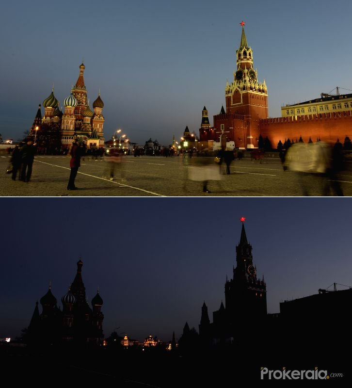 The combo taken on March 29, 2014 shows the scenes before (Up) and after the landmark Red Square falling dark during the Earth Hour 2014 campaign in Moscow, Russia.