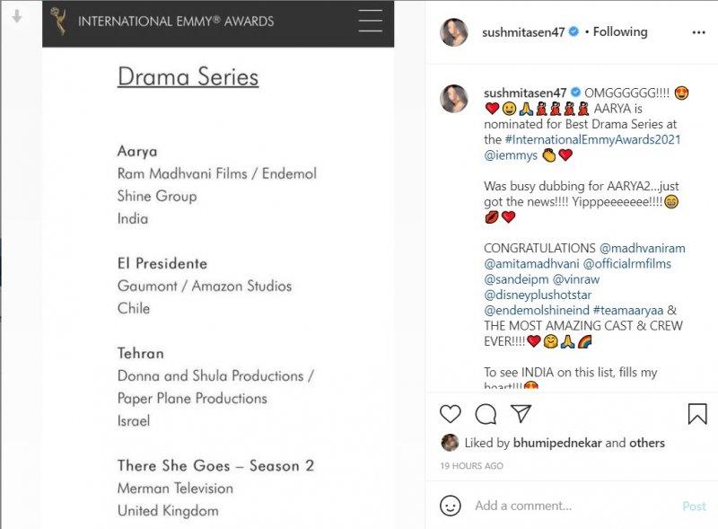 Aarya nominated at International Emmys 2021; Sushmita Sen cannot hide her excitement