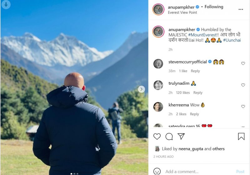 Anupam Kher shared pictures of himself with Mount Everest in the background