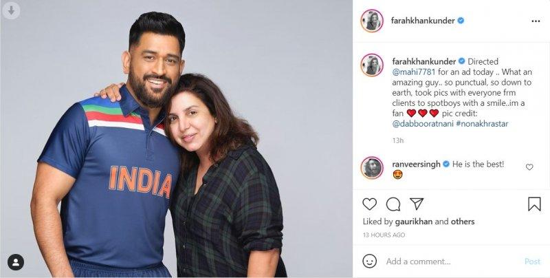 Farah Khan shoots ad with MS Dhoni