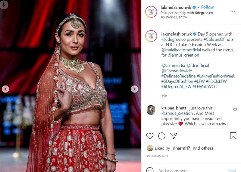 Malaika Arora walked the ramp at the Lakme Fashion Week 2021 for designer Annu