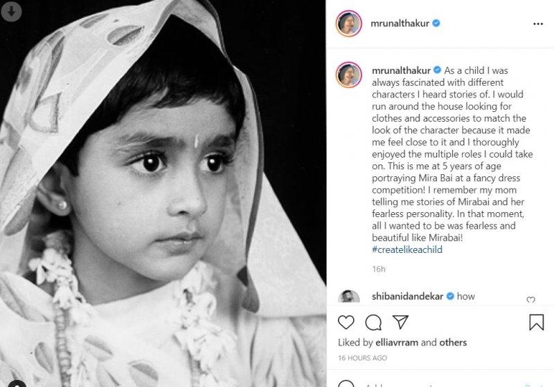 Mrunal Thakur shared her childhood photo