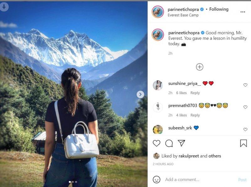 Parineeti Chopra was humbled to see Mount Everest