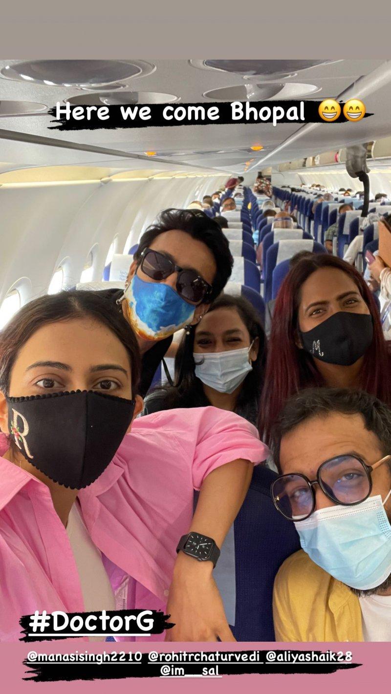 Rakul Preet Singh leaves for Bhopal for Doctor G's shooting