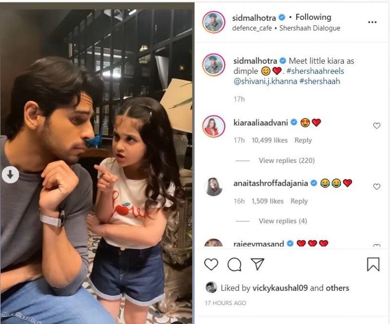 Sidharth Malhotra reenacts Shershaah scene with little Shivani