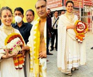 Kangana Ranaut looks ethereal as she visits Lord Jagannath temple in Puri