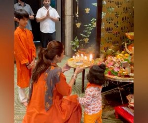 Shilpa Shetty does Navratri puja with kids Viaan and Samisha: 'Sowing the seeds of faith in both of them'