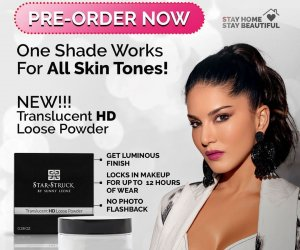 Sunny Leone promotes her all-new Vegan cruelty-free Translucent HD loose powder from her cosmetic line Star Struck