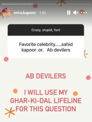 Mira Rajput's chat session on Instagram