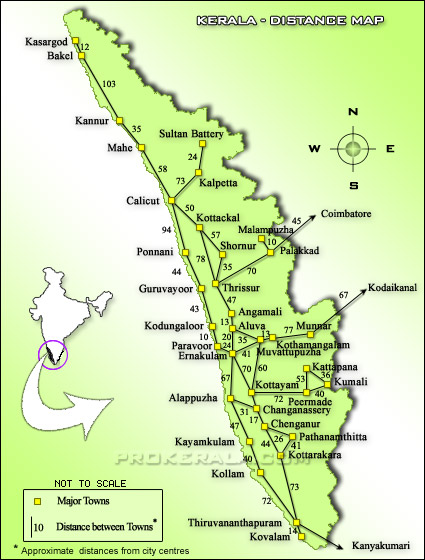 Kerala Tourist Map With Distance Kerala Distance Map | Kerala Road Map showing distance between cities