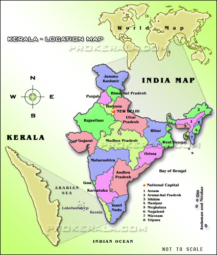 Location map of Kerala | Location of Lerala, Lerala on India map